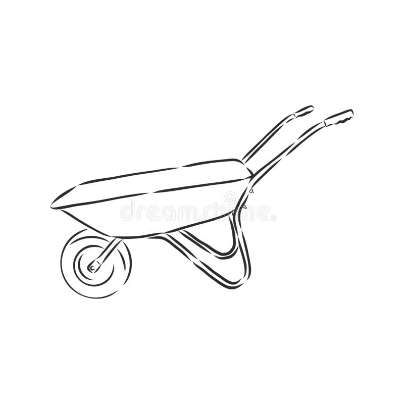 wallpapers How To Draw A Simple Wheelbarrow dreamstime com