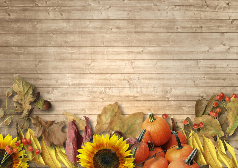 Fall Harvest Wallpaper Vintage Wooden Background With Autumn Leaves Pumpkins