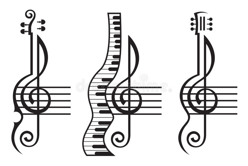 Violin, Guitar, Piano And Treble Clef Stock Vector