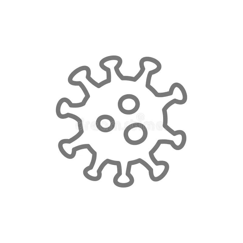 Microbe, Bacteria, Virus In Petri Dish Line Icon. Stock