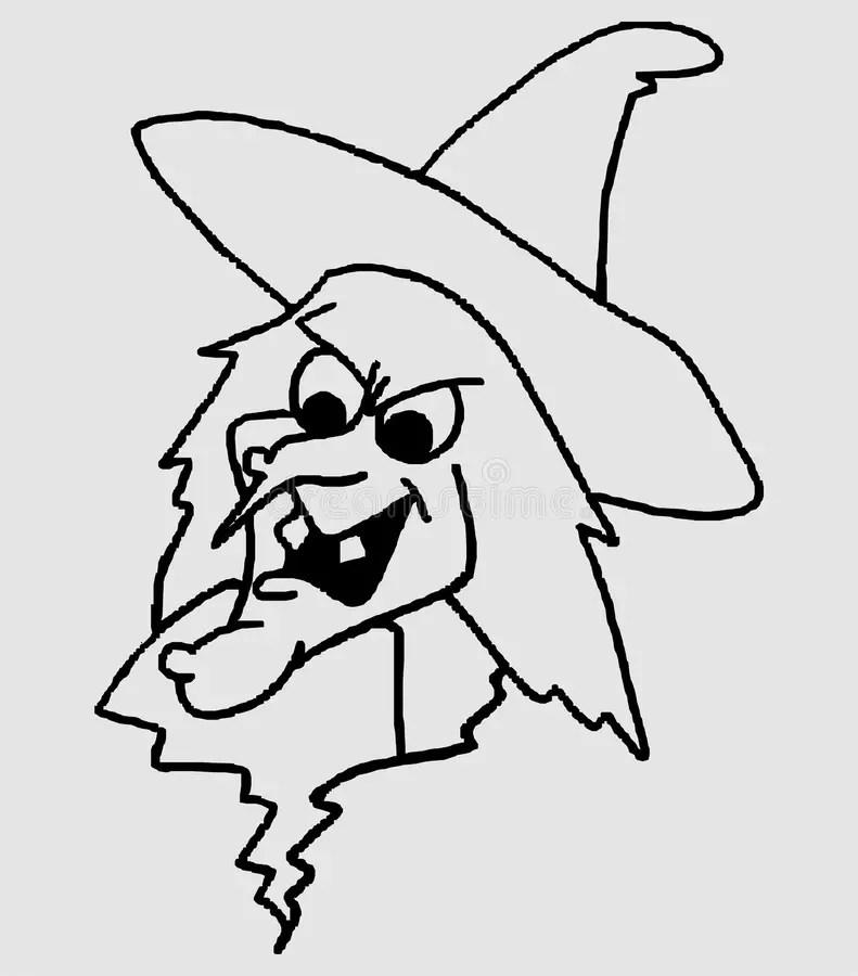 Visage d'une sorcière illustration de vecteur