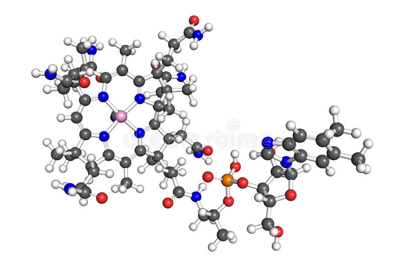 Vitamin B12 molecule stock illustration. Image of