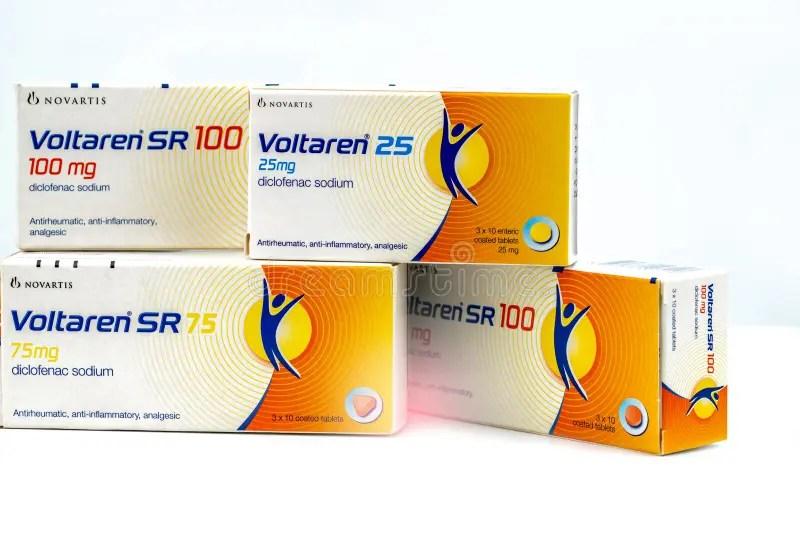 Voltaren 25 Mg. 75 Mg. 100 Mg. Diclofenac Sodium Product Of Novartis. Manufactured By Novartis.Turkey For Novatis Pharma Editorial Photography ...