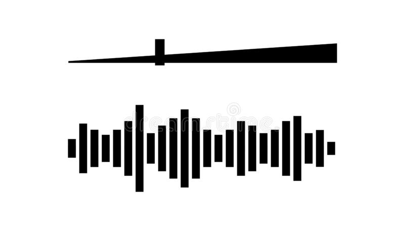 Volume Control Bar And Sound Wave Icon Set In Black And