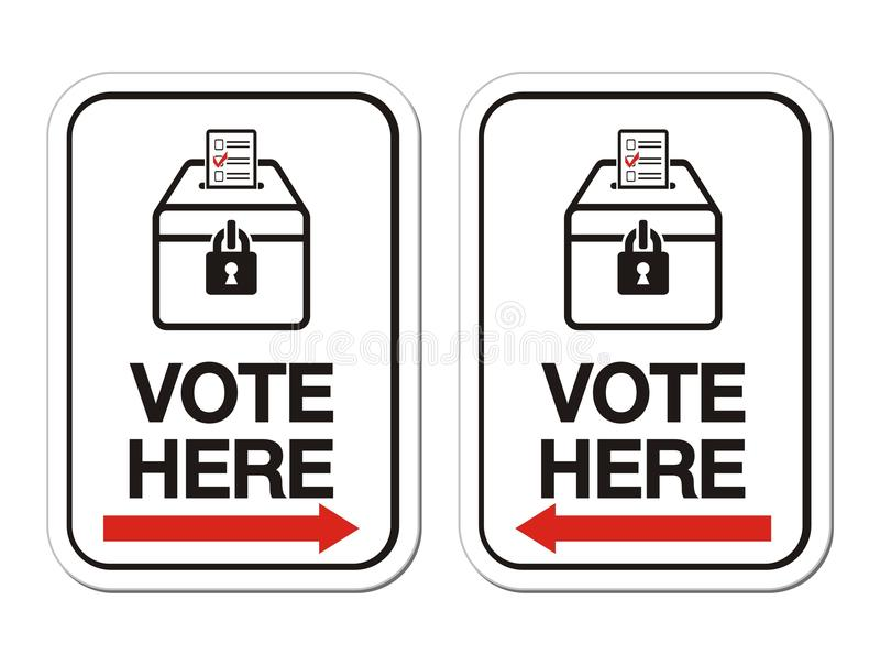 Vote here sign with arrow stock vector. Illustration of label - 30810817