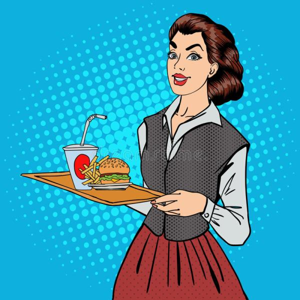 Waitress With Fast Food. Woman Holding Tray Burger Stock Vector - Illustration Of
