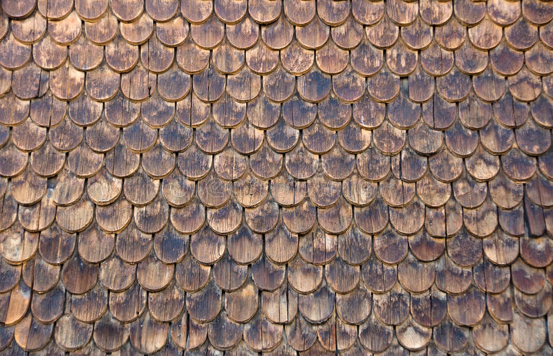 Wall of wooden shingles stock image. Image of design