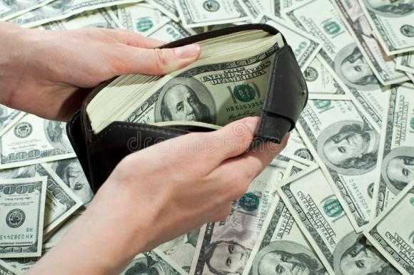 Wallet full of money stock photo. Image of deduct, deal ...