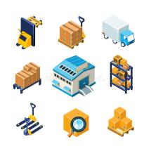 Warehouse And Logistics Equipment Icon Set. Flat Stock