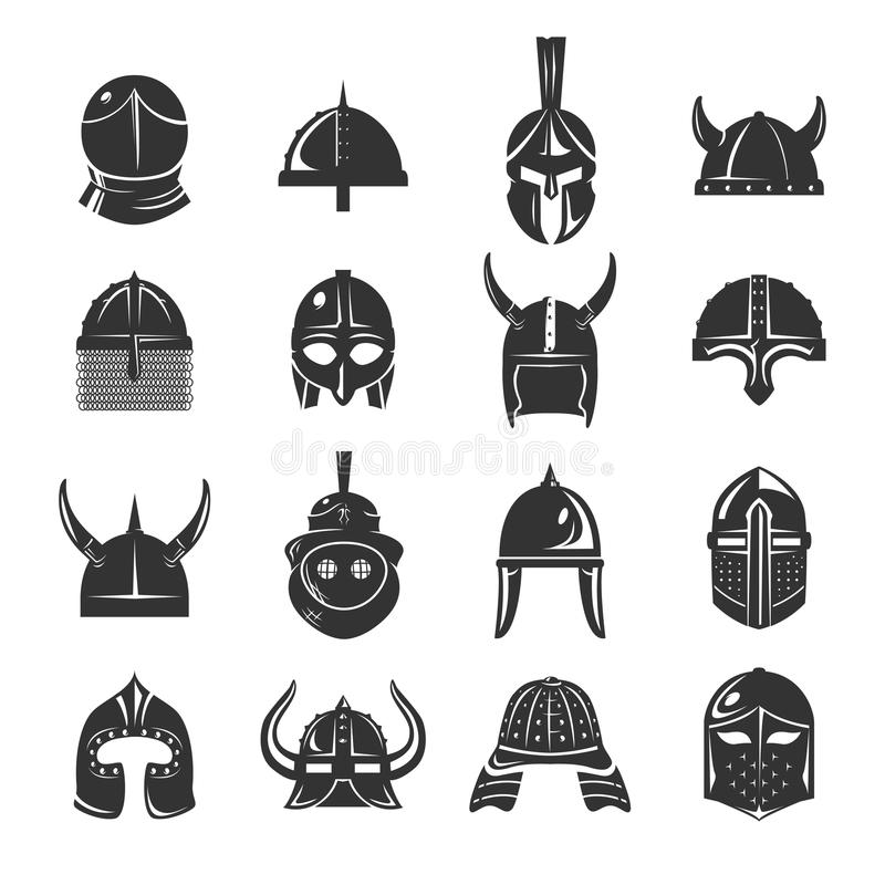 Warrior Helmets Set Icons On White Background Stock Vector