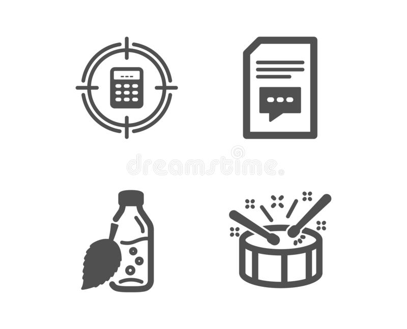 Calculator Target, Share And Copyright Chat Icons. Startup