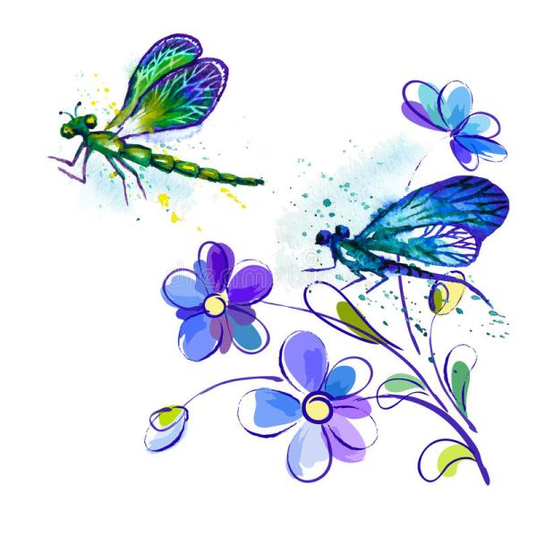 watercolor background with dragonflies