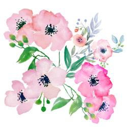 watercolor clip flowers floral illustration hi res hand painted composition file royalty