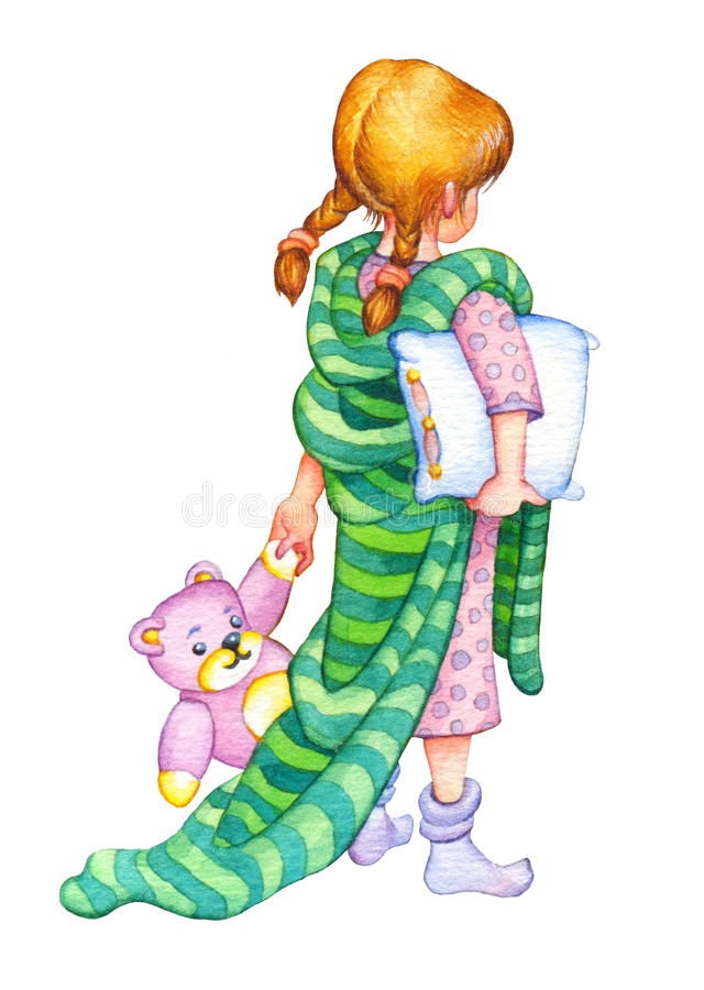 Watercolor Illustration Girl Go To Bed Stock Illustration