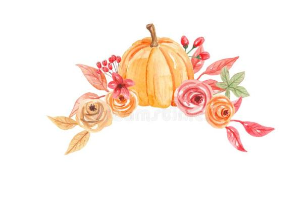 watercolor pumpkins arch flowers
