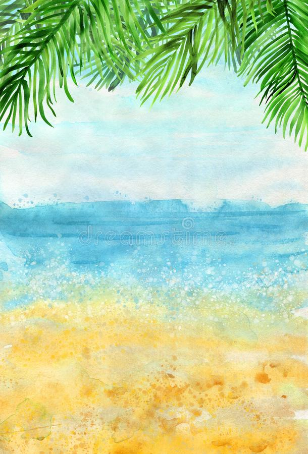 Summer Watercolor Background : summer, watercolor, background, Summer, Watercolour, Beach, Stock, Illustrations, 6,740, Illustrations,, Vectors, Clipart, Dreamstime