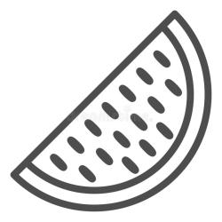 watermelon outline melon slice icon concept fruits seed line sign