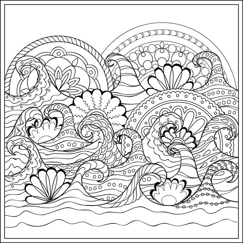 Waves with mandalas stock vector. Illustration of nature