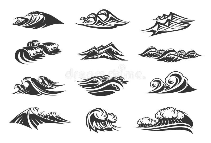 Ocean waves set stock vector. Illustration of motion
