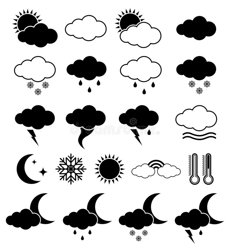 Weather icons stock vector. Illustration of cold, internet