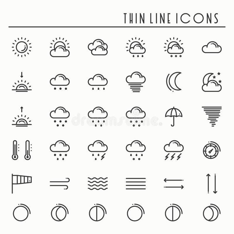 Forecast Weather Line Icons Set Stock Vector