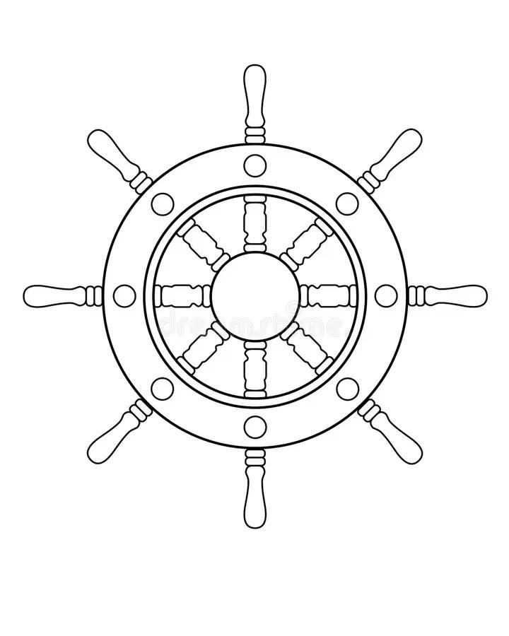 Steering Wheel. Outline Drawing Stock Vector