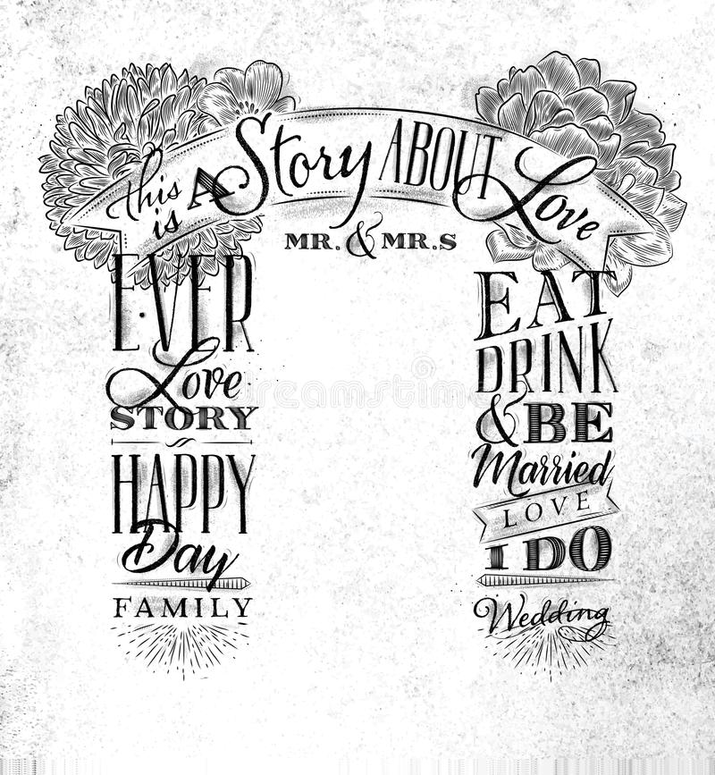Wedding Arch Backdrop Love Story Stock Vector