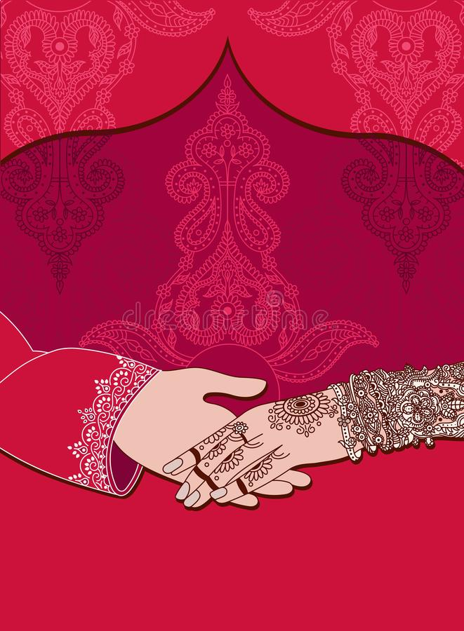 wedding indian invitation card on red