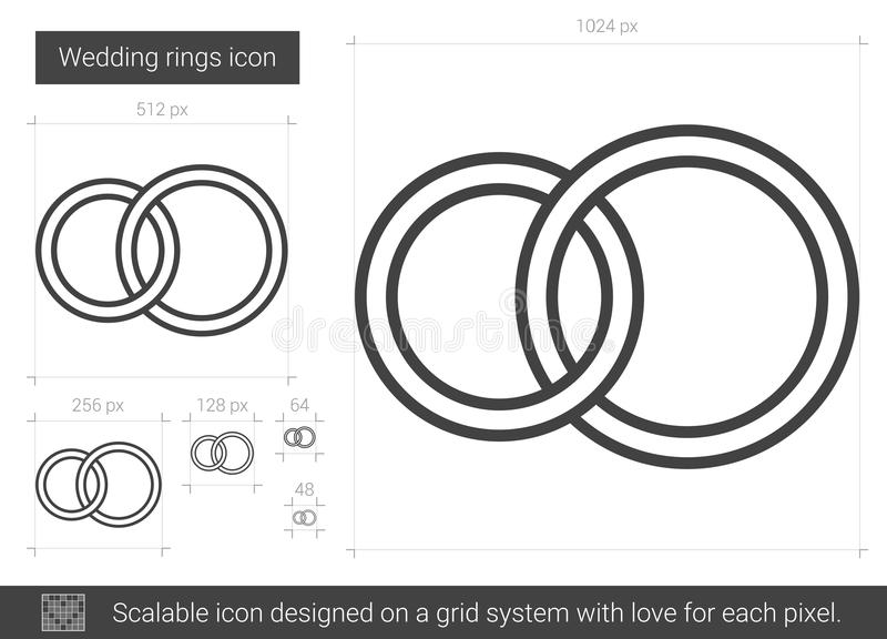 Wedding rings line icon. stock vector. Illustration of