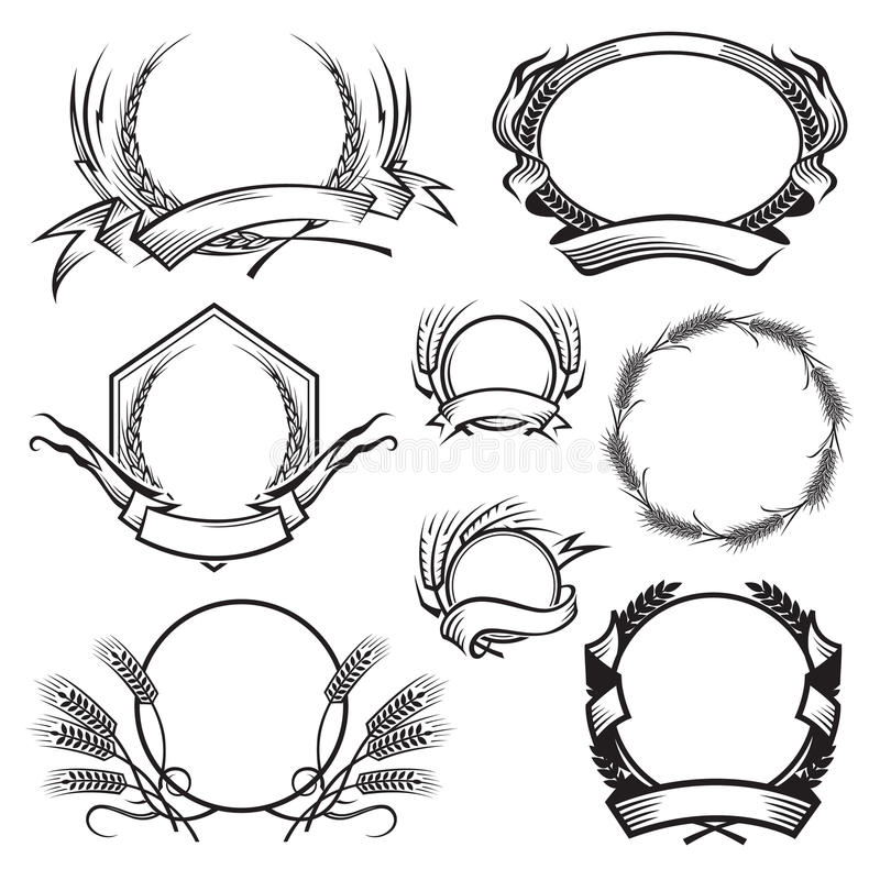 Frames With Ears Of Wheat, Barley Or Rye Stock Vector