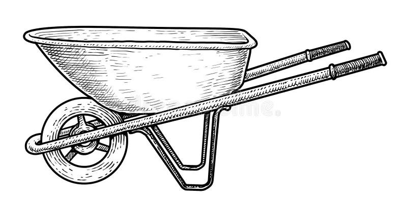 Wheelbarrow Illustration, Drawing, Engraving, Ink, Line