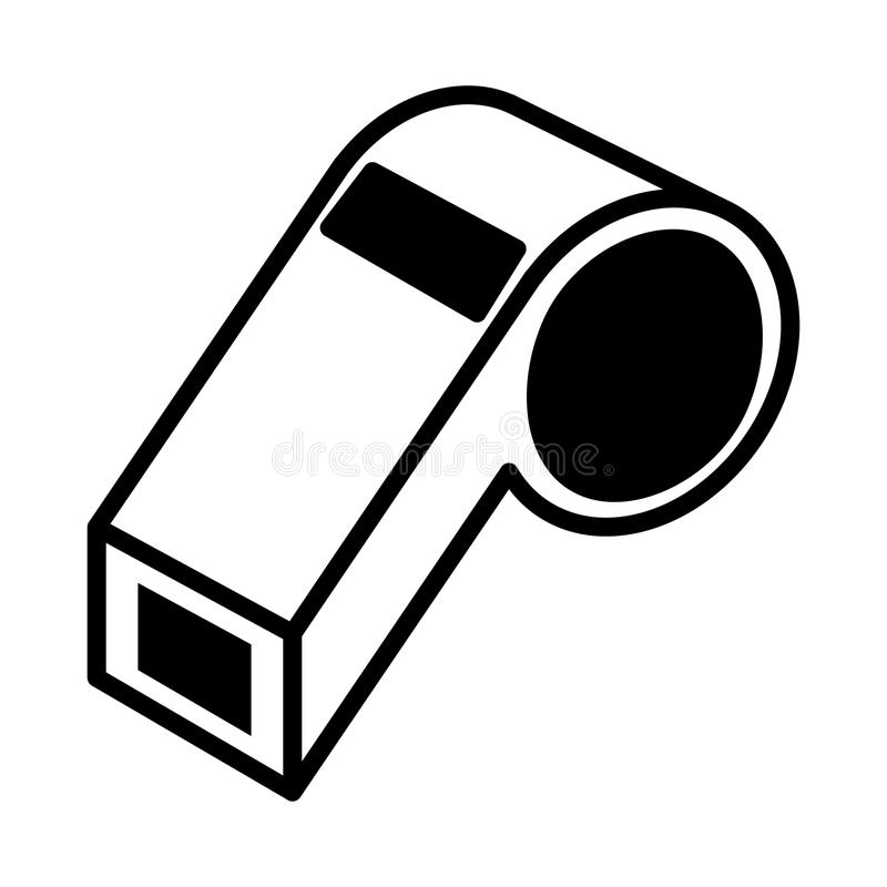 Silhouette Monochrome With Closeup Whistle Stock Vector