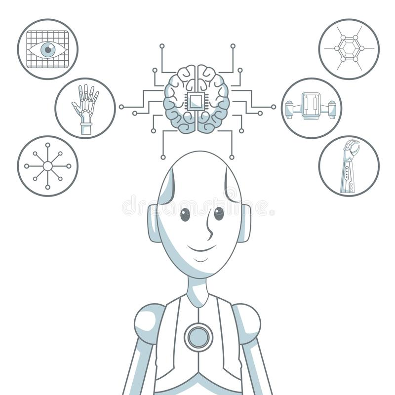 Robot Head Icons stock vector. Illustration of icon, power