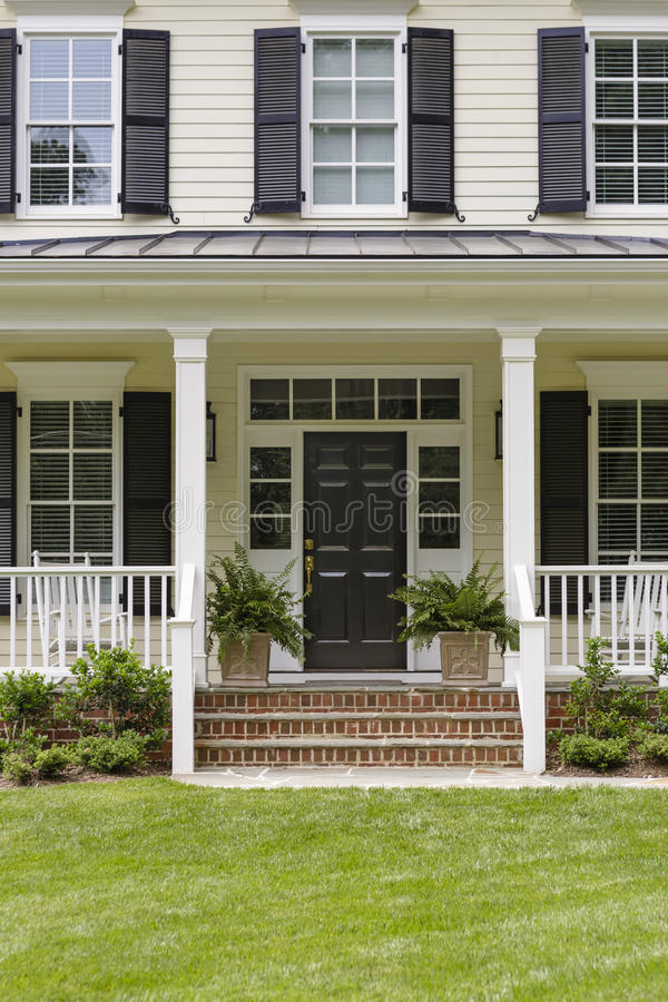 white colonial house porch