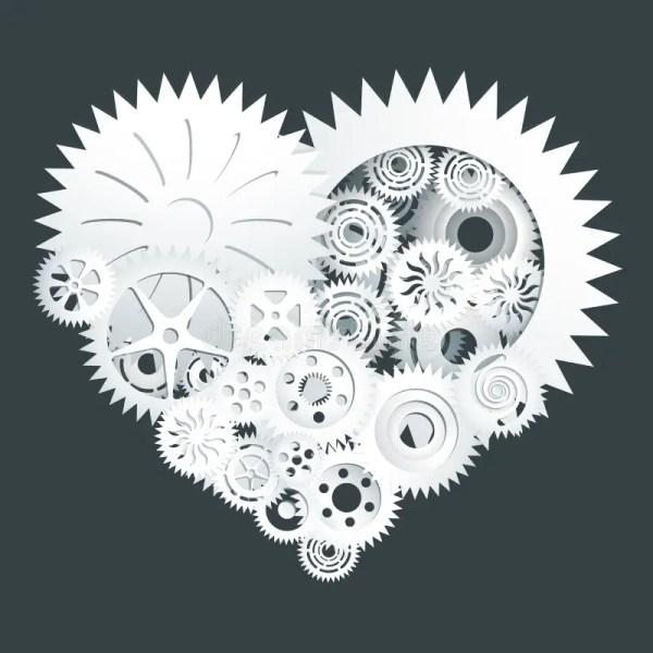 White Gear Heart Paper Cut Stock Vector - 65381461