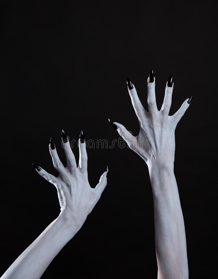 White Ghost Or Witch Hands With Sharp Black Nails, Body