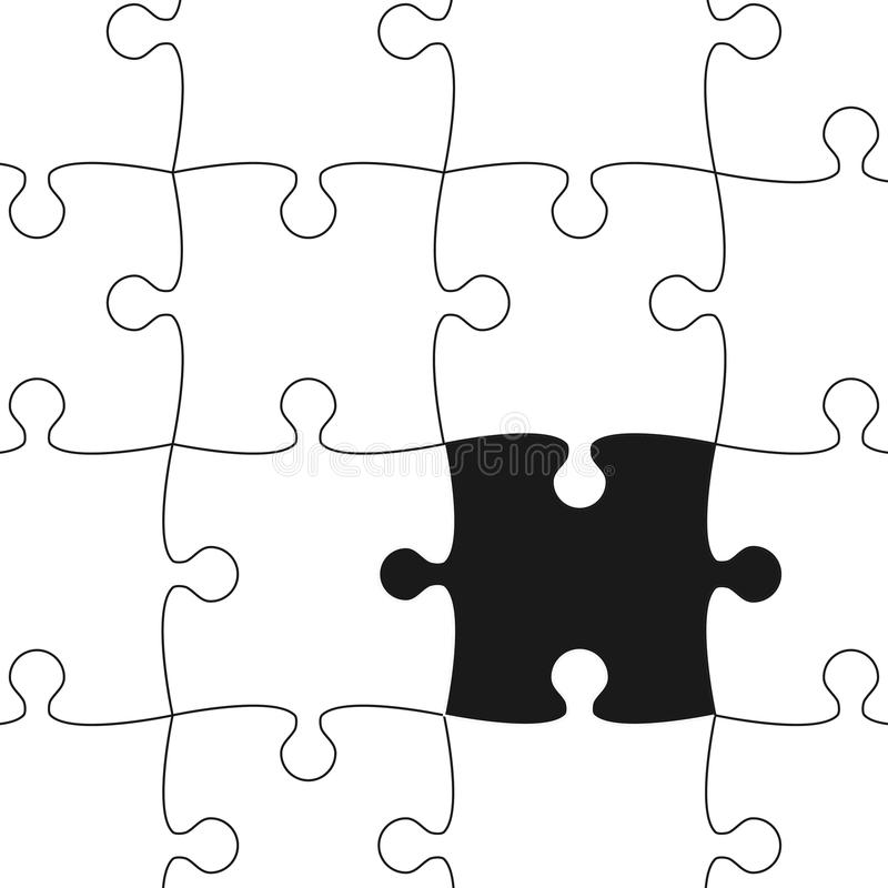 White Puzzle Pieces. Vector Background. Stock Vector