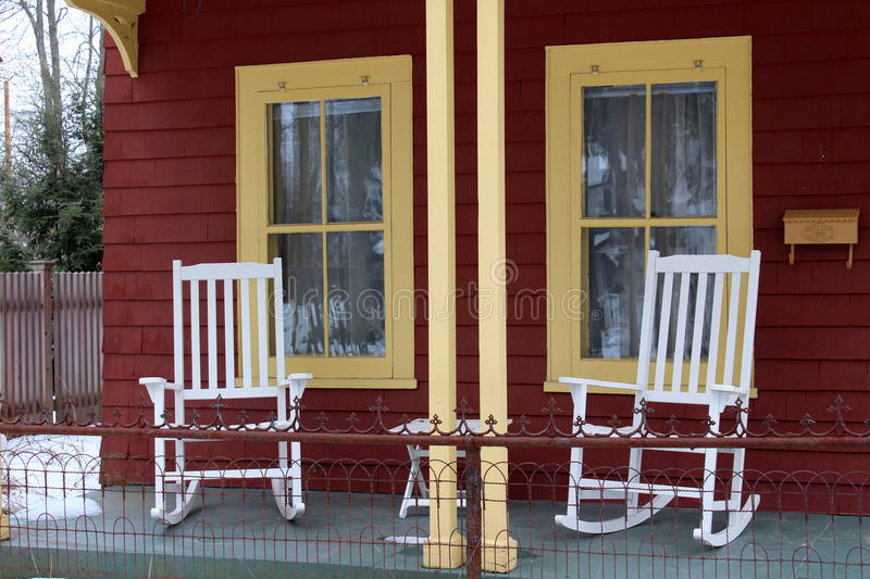 White Rocking Chairs On Front Porch Stock Photo  Image of