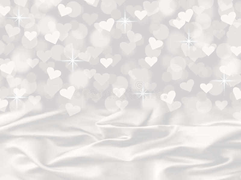 Falling Glitter Wallpaper White Satin And Heart Bokeh Valentine S Day Card