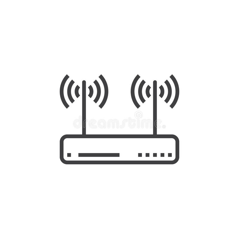 Wifi Router, Wireless Dsl Modem Line Icon, Outline Vector