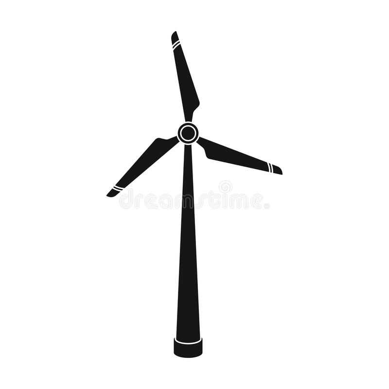 Wind Energy Turbine Icon In Black Style Isolated On White