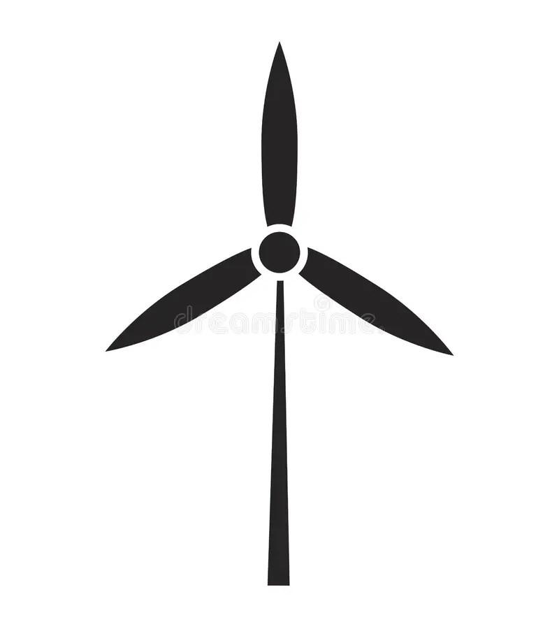 Wind Power Plant Silhouette Vector Symbol Icon Design