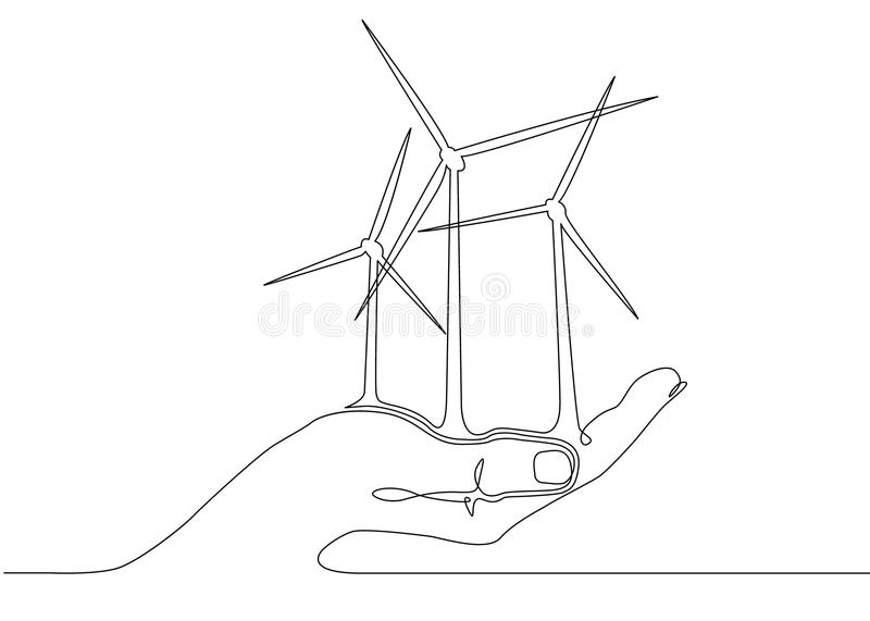 Wind Energy Poly, Windmill,flying Debris Stock Vector