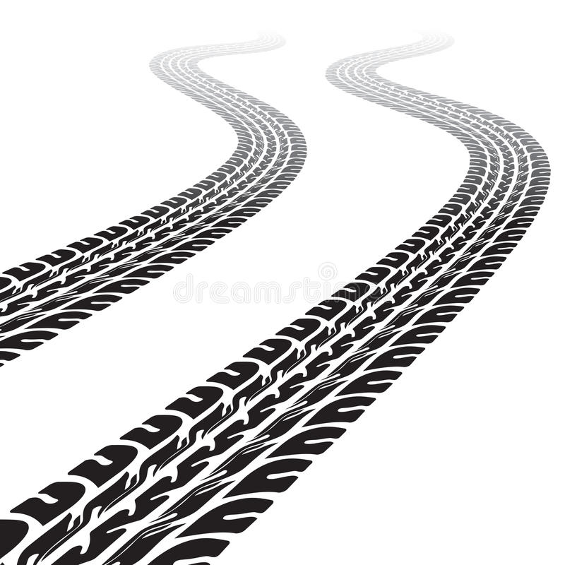 Winding trace of the tires stock vector. Illustration of