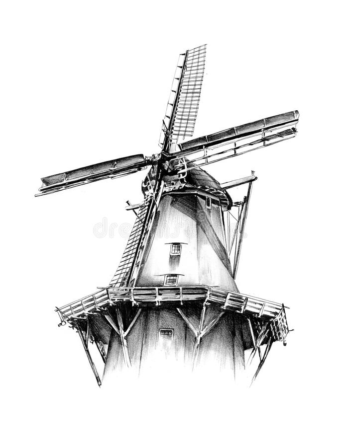 Windmill Old Retro Vintage Drawing Stock Illustration