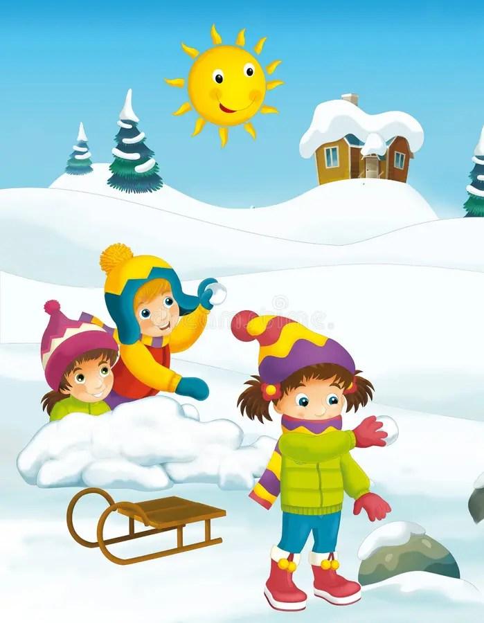 Winter cartoon scene stock illustration. Illustration of graphic - 44637200