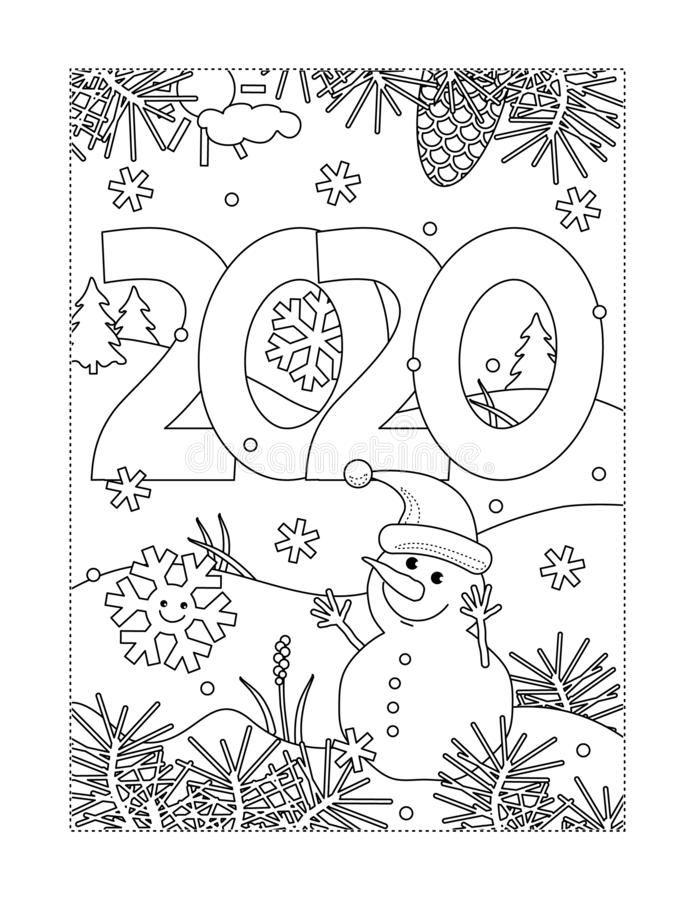 Year 2020 Heading Dot-to-dot And Coloring Page Stock