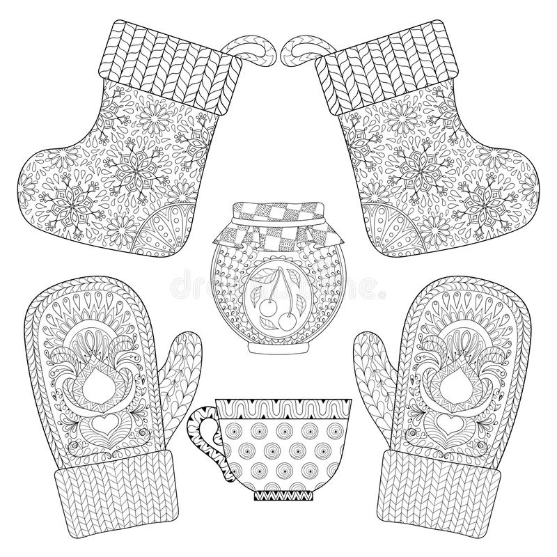Winter Knitted Sock For Gift From Santa In Zentangle Style