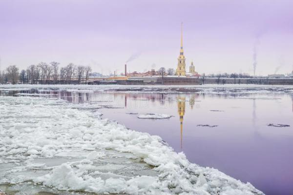 winter landscape river stock