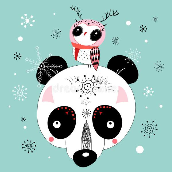 Winter Postcard Of Panda And Owl Stock Vector - 25865934